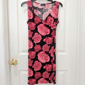 Vintage Rag Rose Pattern Faux Wrap Dress